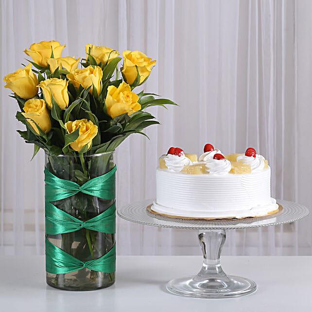 Yellow Roses Vase & Pineapple Cake Combo: Cakes Combo