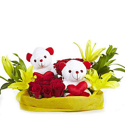 You & Me- Teddy Bear with Roses & Lilies: Flower Basket