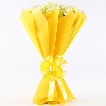 Zesty Yellow Carnations Bouquet: Yellow Flowers
