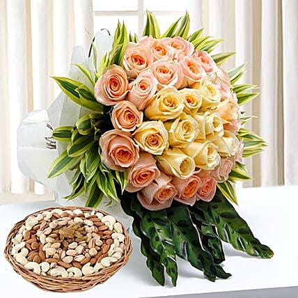 Bunch Of Roses and Dry Fruits Combo: