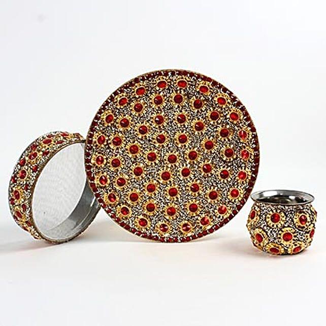 Designer Stone and Beads Karwa Thali Set: Karwa Chauth Presents to UAE