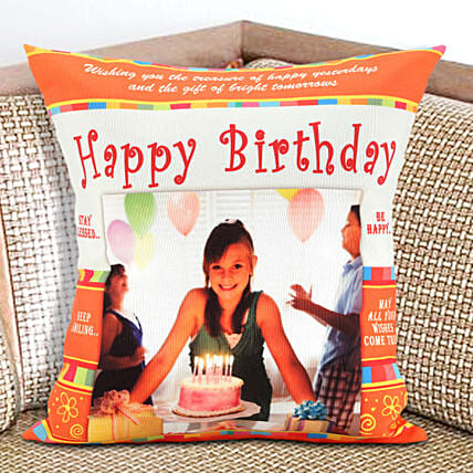 Happy Bday Personalized Cushion: Personalised Cushions to USA