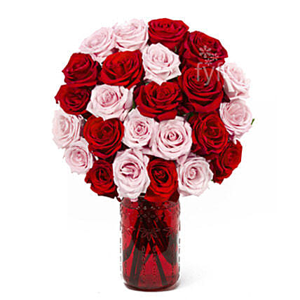 Vase Arrangement Of 24 Red N Pink Roses: Valentine's Day Gift Delivery in USA