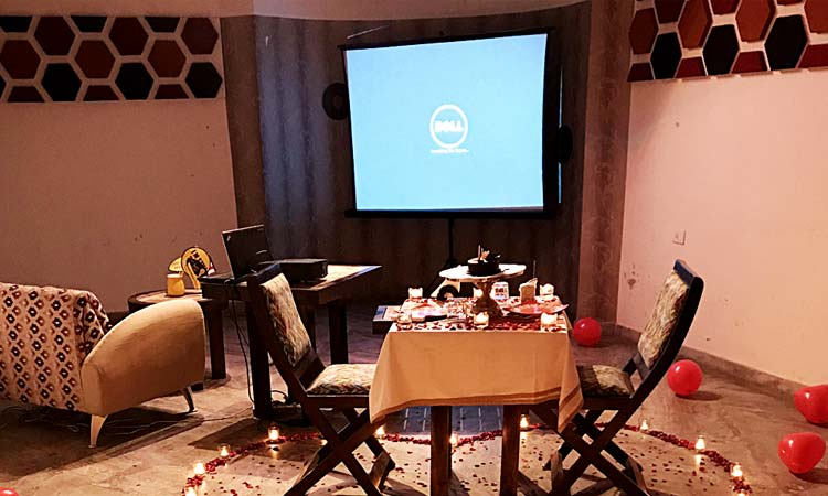 Private movie screening with dinner