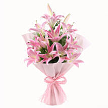 Luxurious Lillies - Bunch of 6 oriental pink lilies with paper packing.
