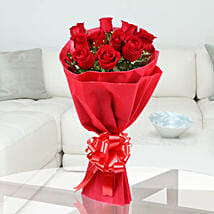 Red Stands For Love - Bunch of 10 red roses in paper packing.